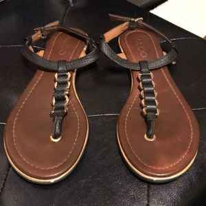 Aldo Black & Gold Miralles Sandals